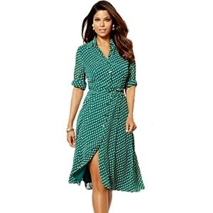 [0] NY&CO Eva Mendes - Button Front PolkaDot Dress